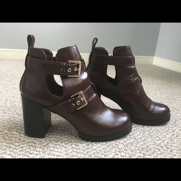 Forever 21 Shoes - Forever 21 dark-brown heeled ankle boots